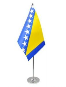 Bosnia and Herzegovina Desk / Table Flag with chrome stand and base.
